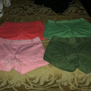 J crew chino shorts in assorted colors